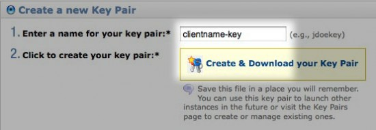 Create a new Security Key Pair