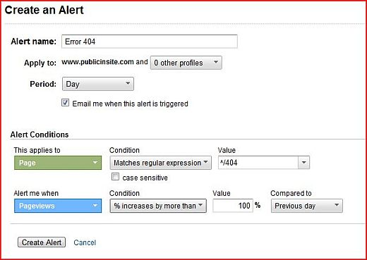 Custom Alerts for Error 404 Pages in Google Analytics