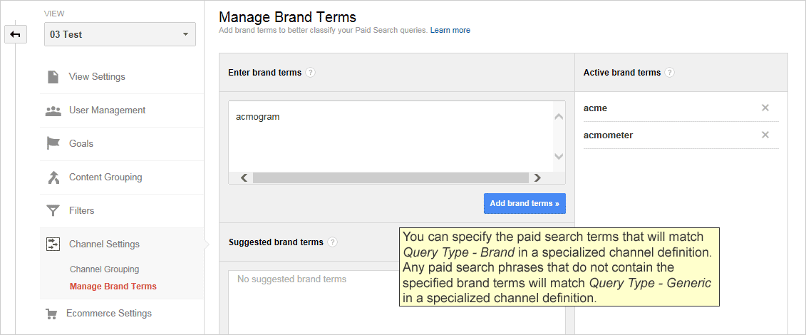 Manage Brand Terms panel