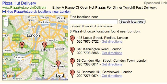 Google Adwords Search Network Multiple Location Ad